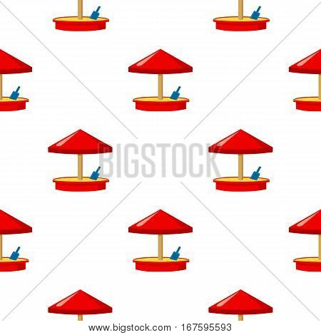 Sandbox icon in cartoon style isolated on white background. Play garden pattern vector illustration. - stock vector
