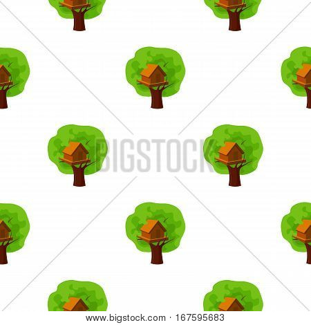 Tree house icon in cartoon style isolated on white background. Play garden pattern vector illustration. - stock vector