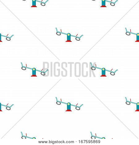 Seesaw icon in cartoon style isolated on white background. Play garden pattern vector illustration. - stock vector