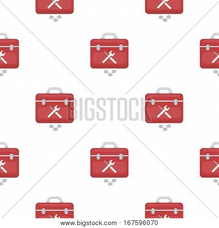Toolbox icon in cartoon style isolated on white background. Plumbing pattern vector illustration. - stock vector