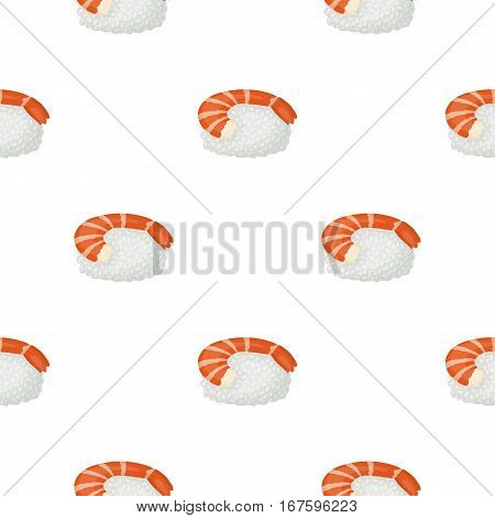 Ebi Nigiri icon in cartoon style isolated on white background. Sushi pattern vector illustration. - stock vector