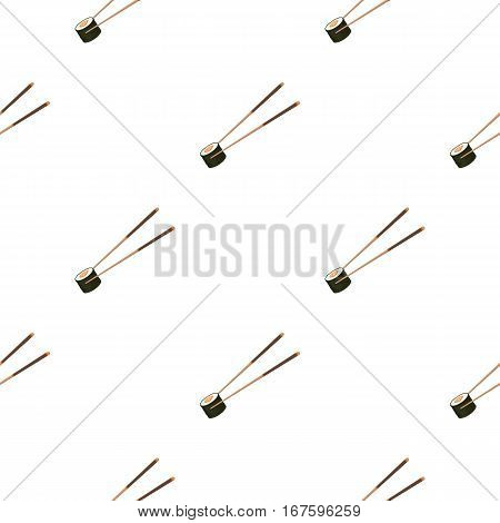 Chopsticks icon in cartoon style isolated on white background. Sushi pattern vector illustration. - stock vector