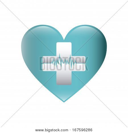 color silhouette with heart with cross with line of vital sign vector illustration
