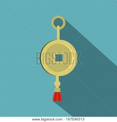 Chinese coin of luck icon. Flat illustration of chinese coin of luck vector icon for web on baby blue background