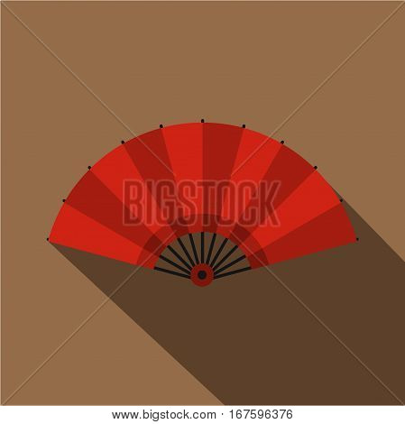 Red open hand fan icon. Flat illustration of red open hand fan vector icon for web on coffee background