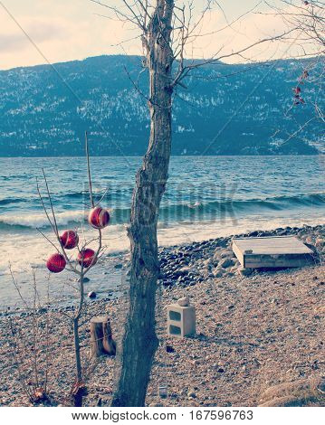 Red baubles hanging on bare tree branches on lake beach in winter with lake waves lake and snow covered mountains in background.