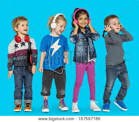 Little Children Heaphones Music Adorable Cheerful