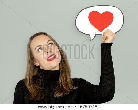 Young Lady Holding Chat Bubble Heart