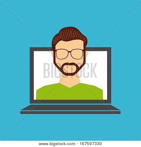 laptop computer with man cartoon icon over blue background. colorful desgin. vector illustration