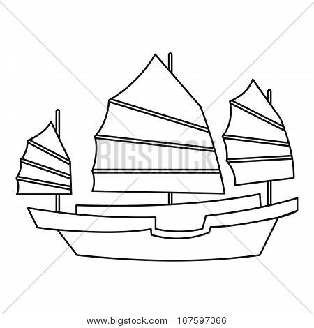 Chinese wooden sailing ship icon. Outline illustration of chinese wooden sailing ship vector icon for web