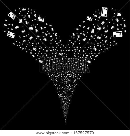 Credit Card fireworks stream. Vector illustration style is flat white iconic symbols on a black background. Object double fountain combined from random symbols.
