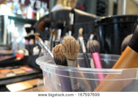Beauty make-up brushes. Beautician cosmetic artist equipment.