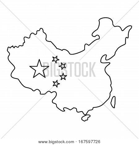 Map of China with flag icon. Outline illustration of map of China with flag vector icon for web