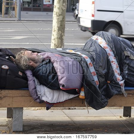 Paris, France, February 11, 2016: homeless people in a center of Paris, France.