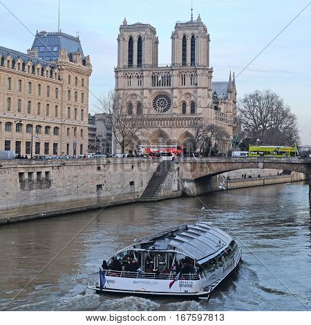 Paris, France, February 9, 2016: the boat on a river Sena in Paris, France
