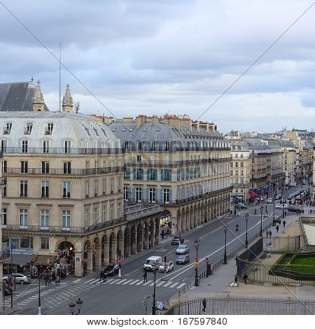 Paris, France, February 10, 2016: view  from Luvre to a street in a center of Paris, France
