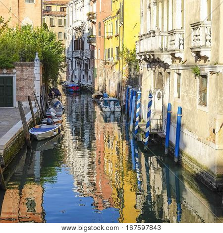 Venice, Italy, June, 21, 2016: Landscape with the image of channel in Venice, Italy