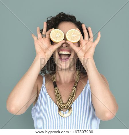 Woman Smiling Happiness Cover Eye Playful Lemon Portrait