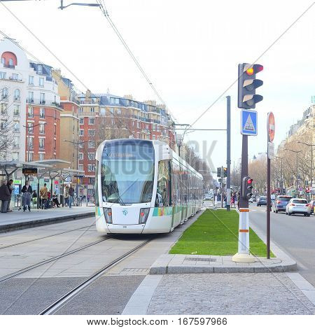 Paris, France, February 6, 2016: tram on the street of Paris, France