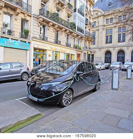 Paris, France, February 9, 2016: electric car charges in Paris, France