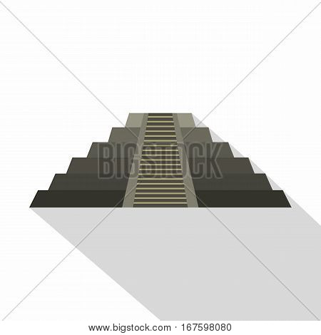 El Castillo Mayan pyramid at Chichen Itza icon. Flat illustration of el Castillo Mayan pyramid at Chichen Itza vector icon for web on white background