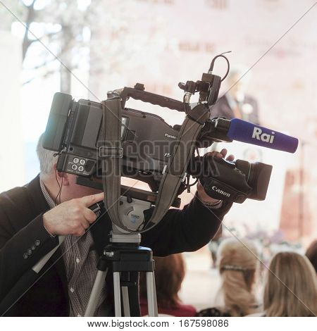 Moscow, Russia - May, 23, 2016: the press conference devoted to tours of the La Scala theater in Moscow.