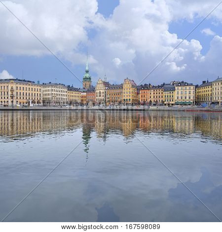 Stockholm, Sweden - March, 16, 2016: panorama of an old town of Stockholm, Sweden