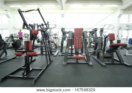 Moscow, Russia - December, 16, 2016: interior of a modern fitness with equipment
