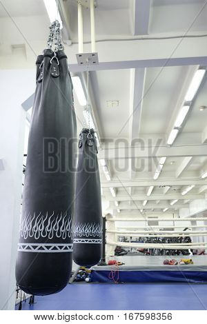 Moscow, Russia - December,   6, 2016: Interior of a fitness hall with boxing ring
