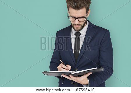 Caucasian Business Man Writing Notes