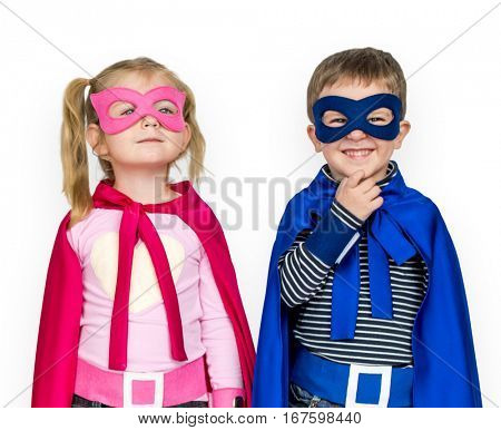 Little Kids Dressing Superhero Hand Gesture Happy