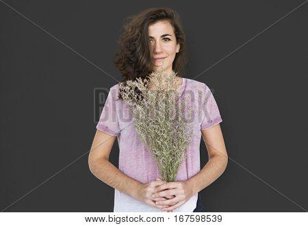 Woman Smiling Happiness Flower Portrait Concept