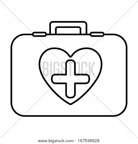 monochrome contour with first aid kit with symbol cross in heart vector illustration