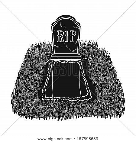 Grave icon in black design isolated on white background. Funeral ceremony symbol stock vector illustration. - stock vector