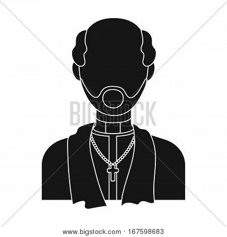 Priest icon in black design isolated on white background. Funeral ceremony symbol stock vector illustration. - stock vector