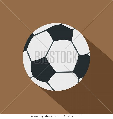 Soccer or football ball icon. Flat illustration of soccer or football ball vector icon for web on coffee background