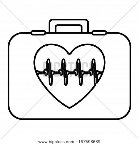 monochrome contour with first aid kit with symbol line of vital sign in heart vector illustration