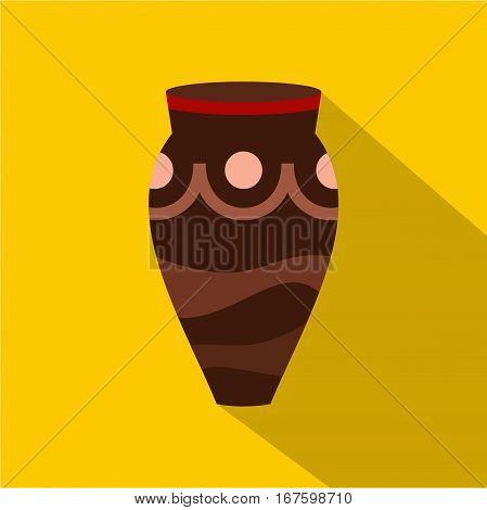 Brown ceramic vase icon. Flat illustration of brown ceramic vase vector icon for web on yellow background