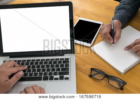 Hipster Wooden Desktop With Laptop, Office Accessories, Flat Lay