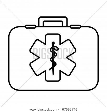 monochrome contour with first aid kit with symbol star of life vector illustration