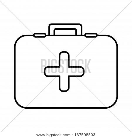 monochrome contour with first aid kit with symbol of cross vector illustration