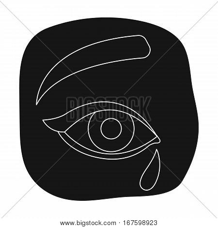 Weepping icon in black design isolated on white background. Funeral ceremony symbol stock vector illustration. - stock vector