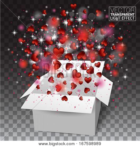 Gift box present with fly hearts Valentine's day. Red Heart Confetti Glitters. Glowing Light Effects Realistic. Vector Illustration Effect Isolated on transparent background