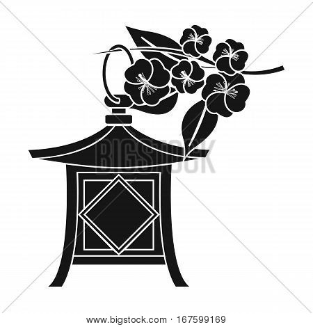 Japanese lantern icon in black style isolated on white background. Japan symbol vector illustration. - stock vector