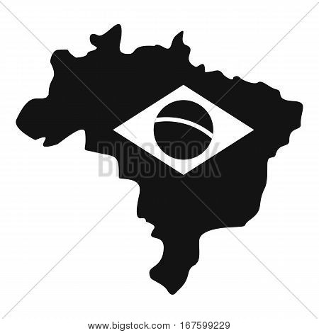 Brazil map with flag icon. Simple illustration of Brazil map with flag vector icon for web