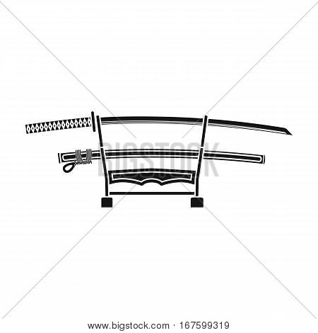 Katana icon in black style isolated on white background. Japan symbol vector illustration. - stock vector