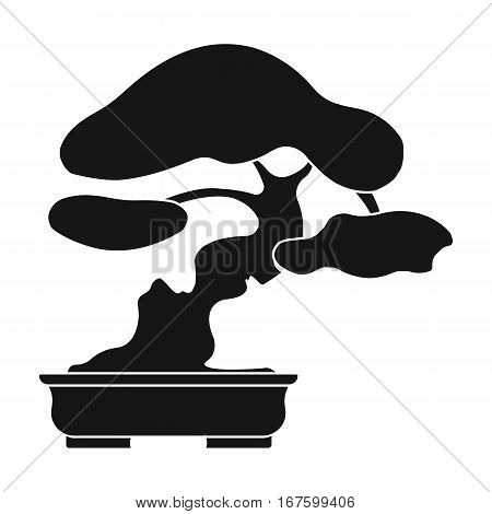 Bonsai icon in black style isolated on white background. Japan symbol vector illustration. - stock vector
