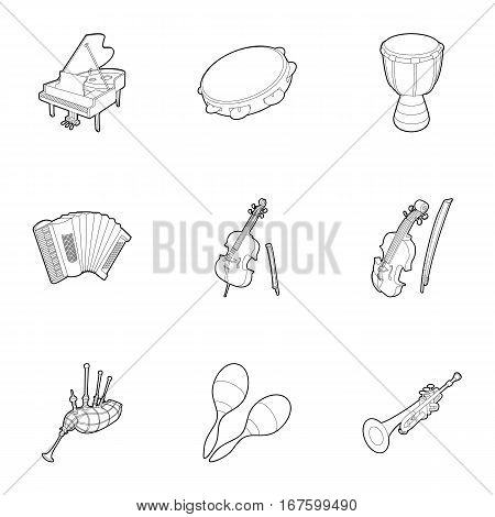 Devices for music icons set. Outline illustration of 9 device for music vector icons for web