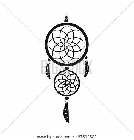 Dreamcatcher icon in black design isolated on white background. Sleep and rest symbol stock vector illustration. - stock vector