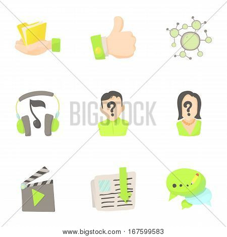 Friendship in network icons set. Cartoon illustration of 9 friendship in network vector icons for web